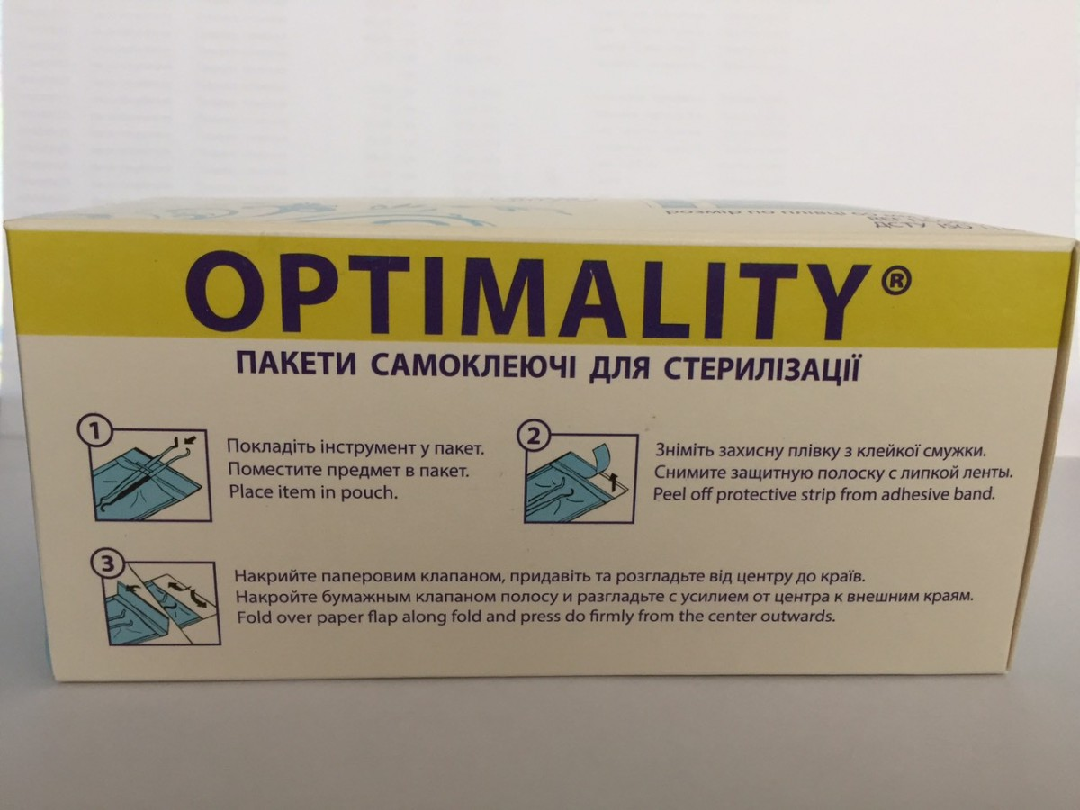 Пакеты для стерилизации инструментов @OPTIMALITY самоклеющиеся 60мм*110мм /1 шт.