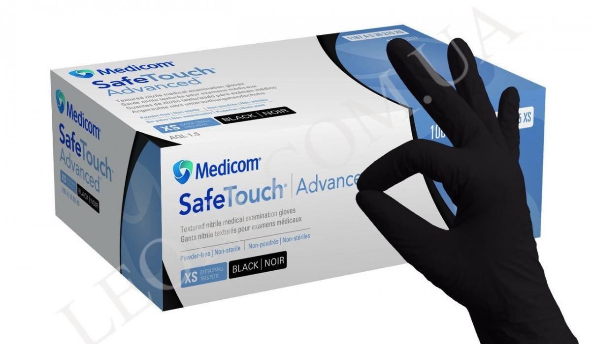 Перчатки нитриловые Medicom SafeTouch Advanced Black без пудры/ 1п