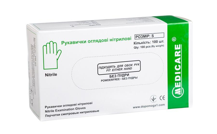Перчатки нитриловые Medicare, без пудры,1 п