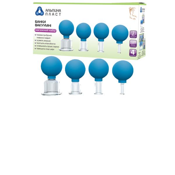 Банки сухие вакуумные полимерно-стеклянные №4 для массажа