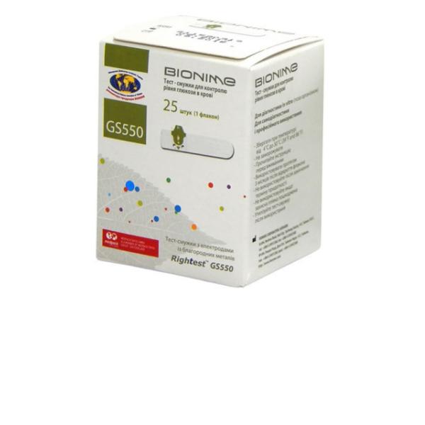 Тест-полоски Bionime Rightest GS 550 (GM 550), 25шт